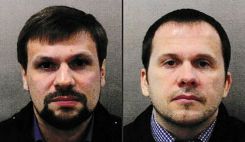 This combination of undated handout pictures released by the British Metropolitan Police Service shows Ruslan Boshirov and Alexander Petrov.