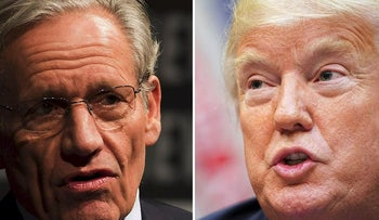 This combination of file photos created September 4, 2018 show Associate Editor of the Washington Post Bob Woodward (L) speaking at the Newseum during an event marking the 40th anniversary of Watergate at the Newseum in Washington, DC June 13, 2012; and US President Donald Trump speaking during an event