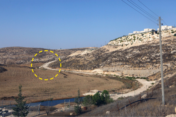 The road constructed on private Palestinian land