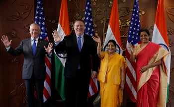 Mike Pompeo and James Mattis with India's Foreign Minister Sushma Swaraj and Defense Minister Nirmala Sitharaman in New Delhi, India, September 6, 2018.