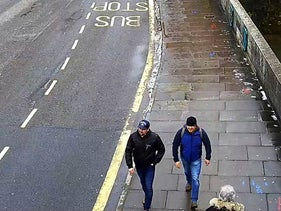 A still taken from CCTV by the Metropolitan Police showing Ruslan Boshirov and Alexander Petrov on Fisherton Road, Salisbury, England on March 4, 2018.