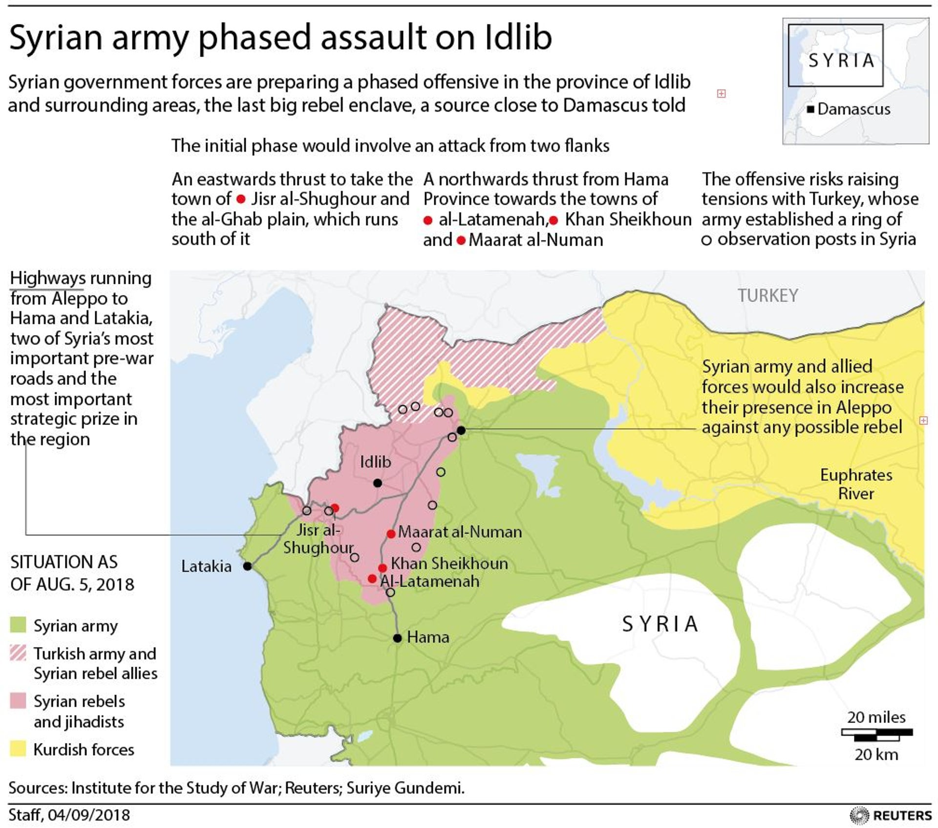 Syrian government forces are preparing a phased offensive in the province of Idlib and surrounding areas