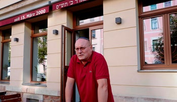 """Uwe Dziuballa, the owner of """"Shalom"""" who was injured in the attack, Chemnitz, Germany, September 8, 2018"""