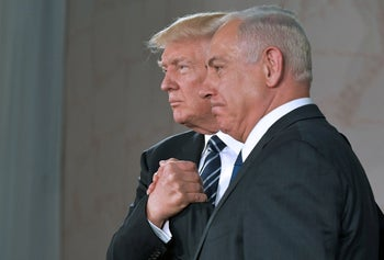 U.S. President Donald Trump and Prime Minister Benjamin Netanyahu shaking hands after delivering a speech at the Israel Museum, May 23, 2017.
