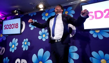 Sweden Democrats party leader Jimmie Akesson reacts as he waits for a election results in Stockholm, Sweden September 9, 2018