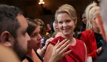 Democratic New York gubernatorial candidate Cynthia Nixon attends the Christian Siriano Runway Show held at Gotham Hall during New York Fashion Week, Sept. 8, 2018, in New York.