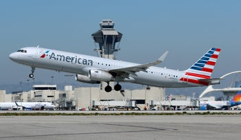 An American Airlines Airbus A321-200 takes off from Los Angeles International Airport, California, March 28, 2018.