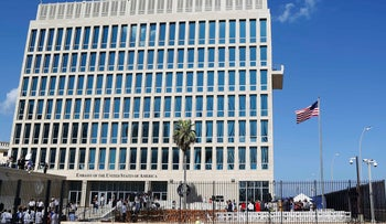 FILE PHOTO: A U.S. flag flying at the U.S. embassy in Havana, Cuba.
