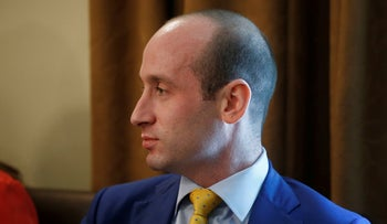 White House senior adviser Stephen Miller listens as President Donald Trump holds a cabinet meeting at the White House in Washington, U.S., July 18, 2018.