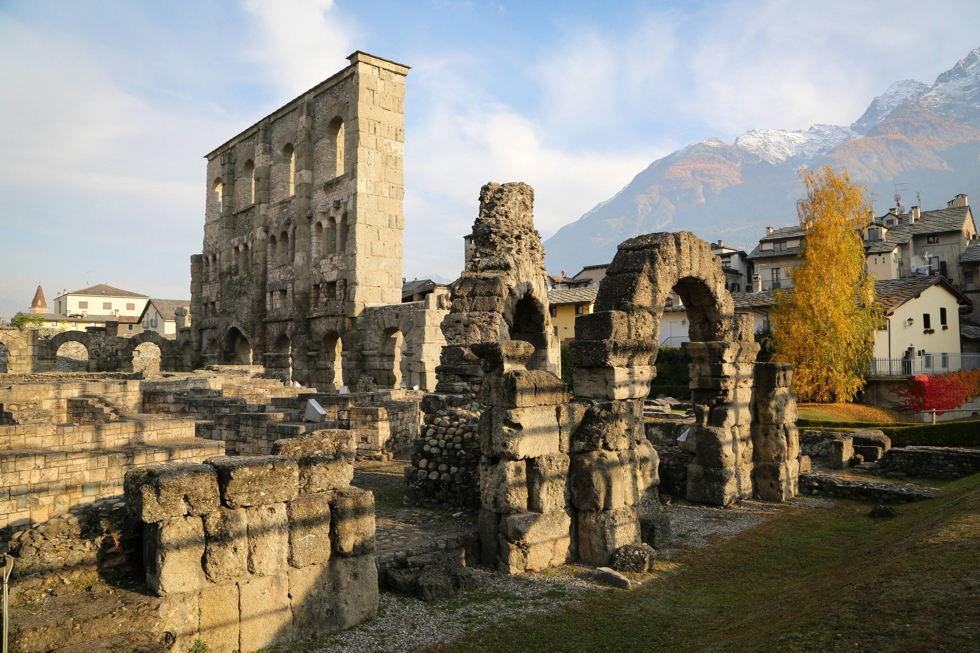 Ancient roman ruins in the city of Aosta