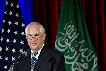 Rex Tillerson, U.S. secretary of state, pauses while speaking during the second annual U.S-Saudi Arabia CEO Summit at the U.S. Chamber of Commerce in Washington, D.C., U.S., on Wednesday, April 19, 2017.