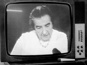 Israel's then-Prime Minister Golda Meir pictured on a television monitor, announcing Israel's capture of the Golan Heights from Syria, October 10, 1973.