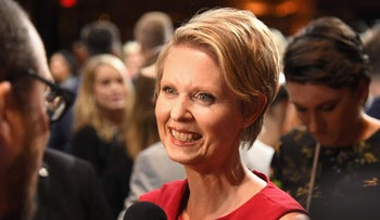 Cynthia Nixon attends a show during New York Fashion Week, September 8, 2018.
