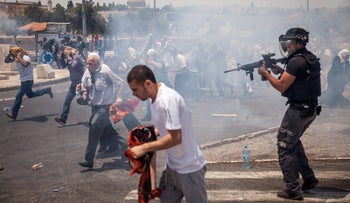 Clashes with Israeli security forces after the attack at Temple Mount, July 2017.