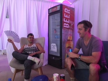 Yoni Wolf (at left) and Doug McDiarmid in the artists' tent at the Meteor Festival.
