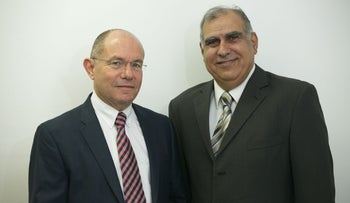 Foamix CEO Dov Tamarkin, left, and cofounder Meir Eini.