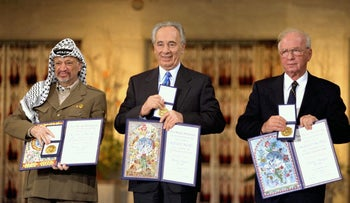 Rabin, Peres and Arafat receiving the Nobel Peace Prize in Oslo, Sweden, 1994.