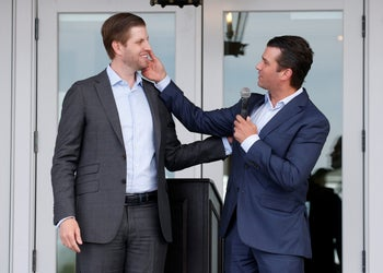 Eric Trump and Donald Trump Jr attend an opening ceremony at Trump Golf Links at Ferry Point, Bronx, New York, U.S., June 11, 2018.