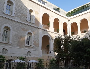 A beautiful scenery: inside the Jaffa hotel and the entrance to 'Golda's'.