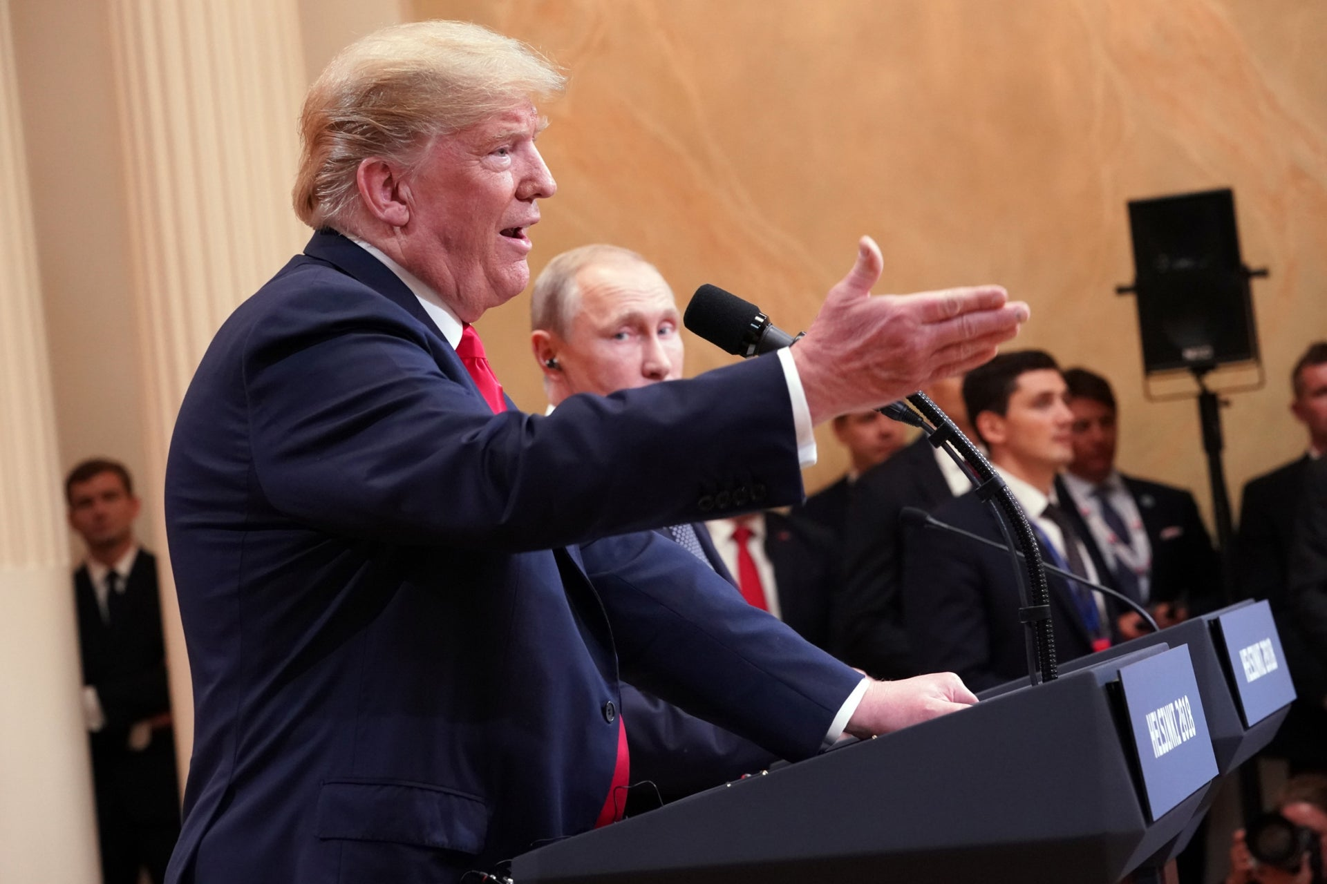 Trump and Putin at their joint press conference in Helsinki, in July.