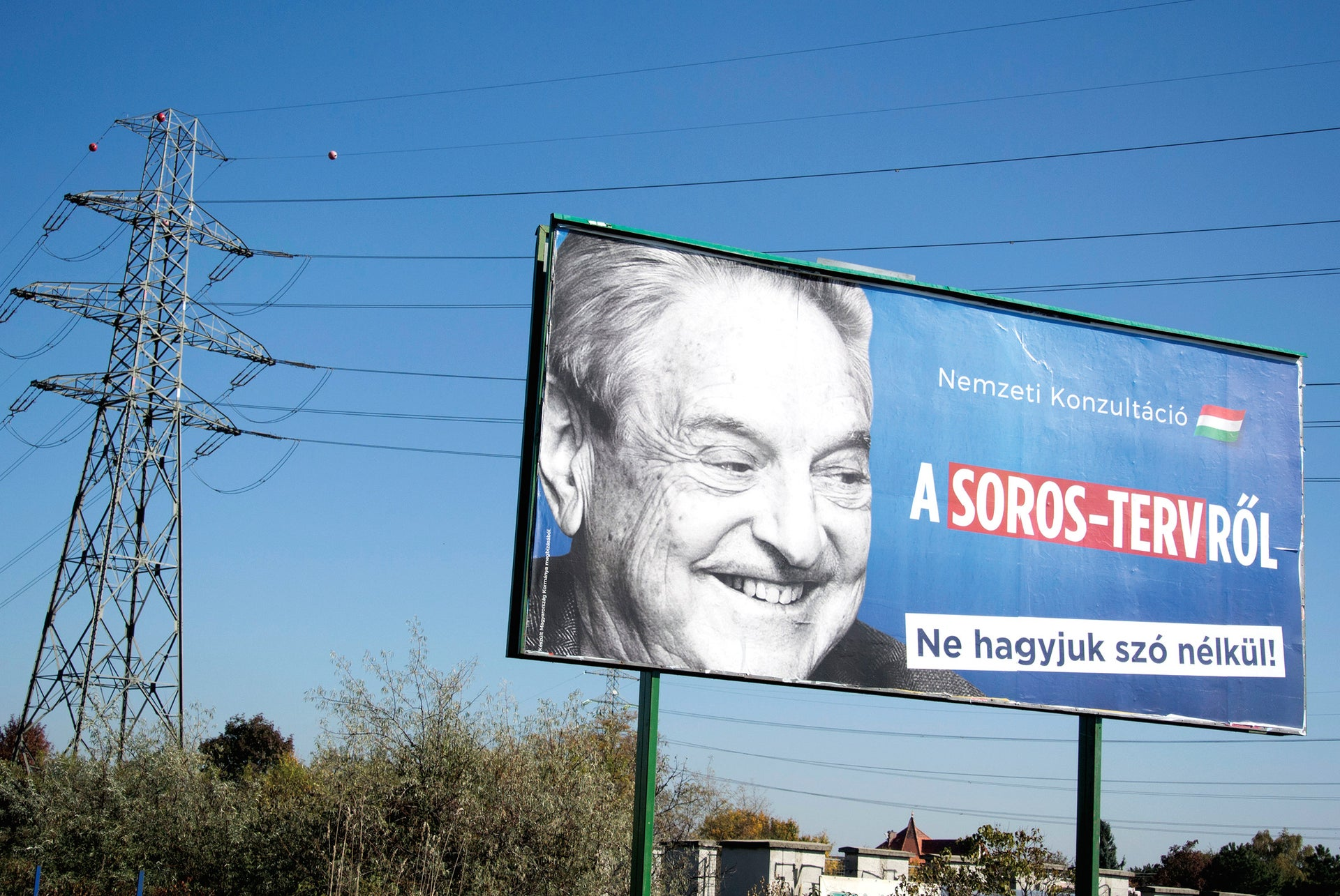 A billboard displaying George Soros urges Hungarians to take part in a national consultation about what it calls a plan by the Hungarian-born financier to settle migrants in Europe, in Budapest.