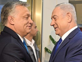 Orban, left, and Netanyahu, in Jerusalem in July.