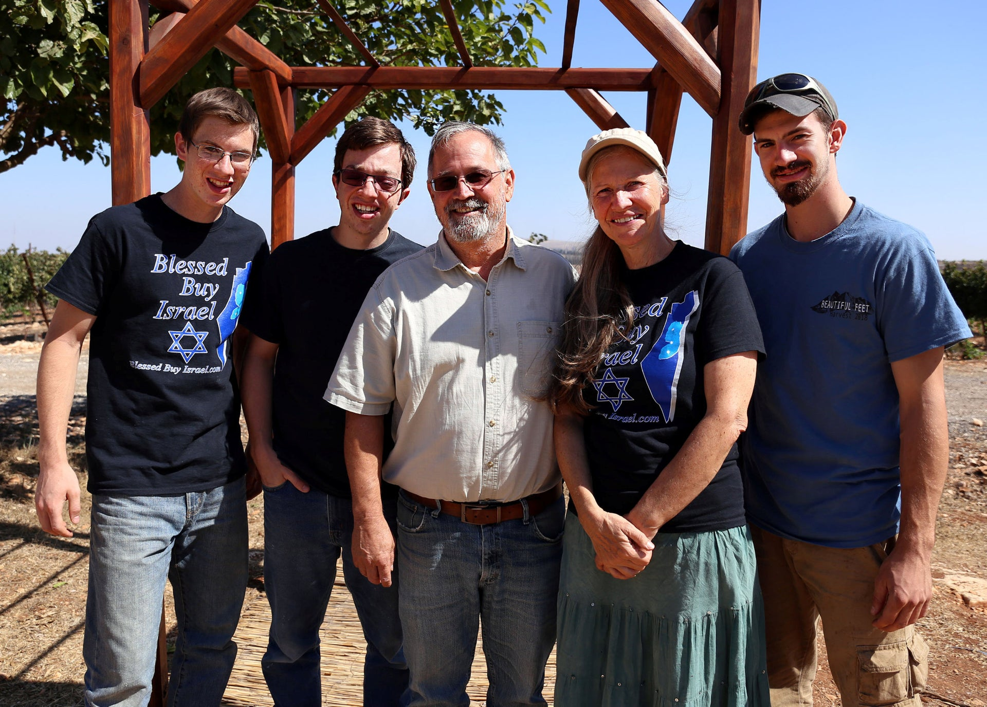 Steve and Doris Wearp, center, with three of their sons in the West Bank settlement of Har Bracha, September 12, 2018.