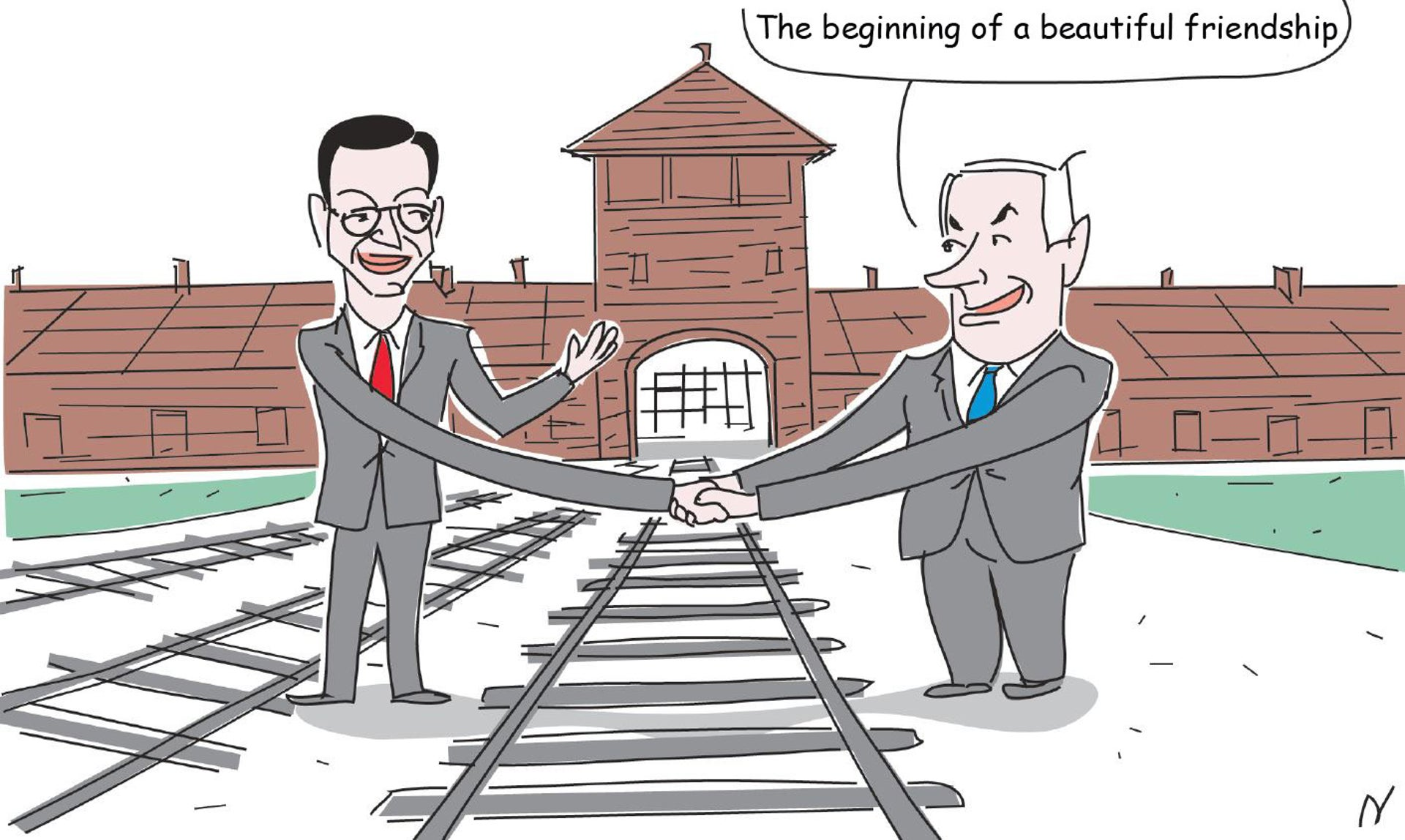 """An illustration depicting Prime Minister Benjamin Netanyahu shaking hands with Polish Prime Minister Mateusz Morawiecki in Auschwitz. A speech bubble above Netanyahu's head says """"The beginning of a beautiful friendship."""""""