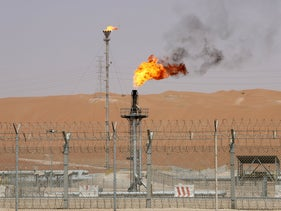 FILE PHOTO: Flames are seen at the production facility of Saudi Aramco's Shaybah oilfield in the Empty Quarter, Saudi Arabia May 22, 2018. Picture taken May 22, 2018.