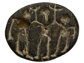 Small stone seal found in Abel Beth Maacah, depicting a dance scene, 10th-9th centuries BCE.