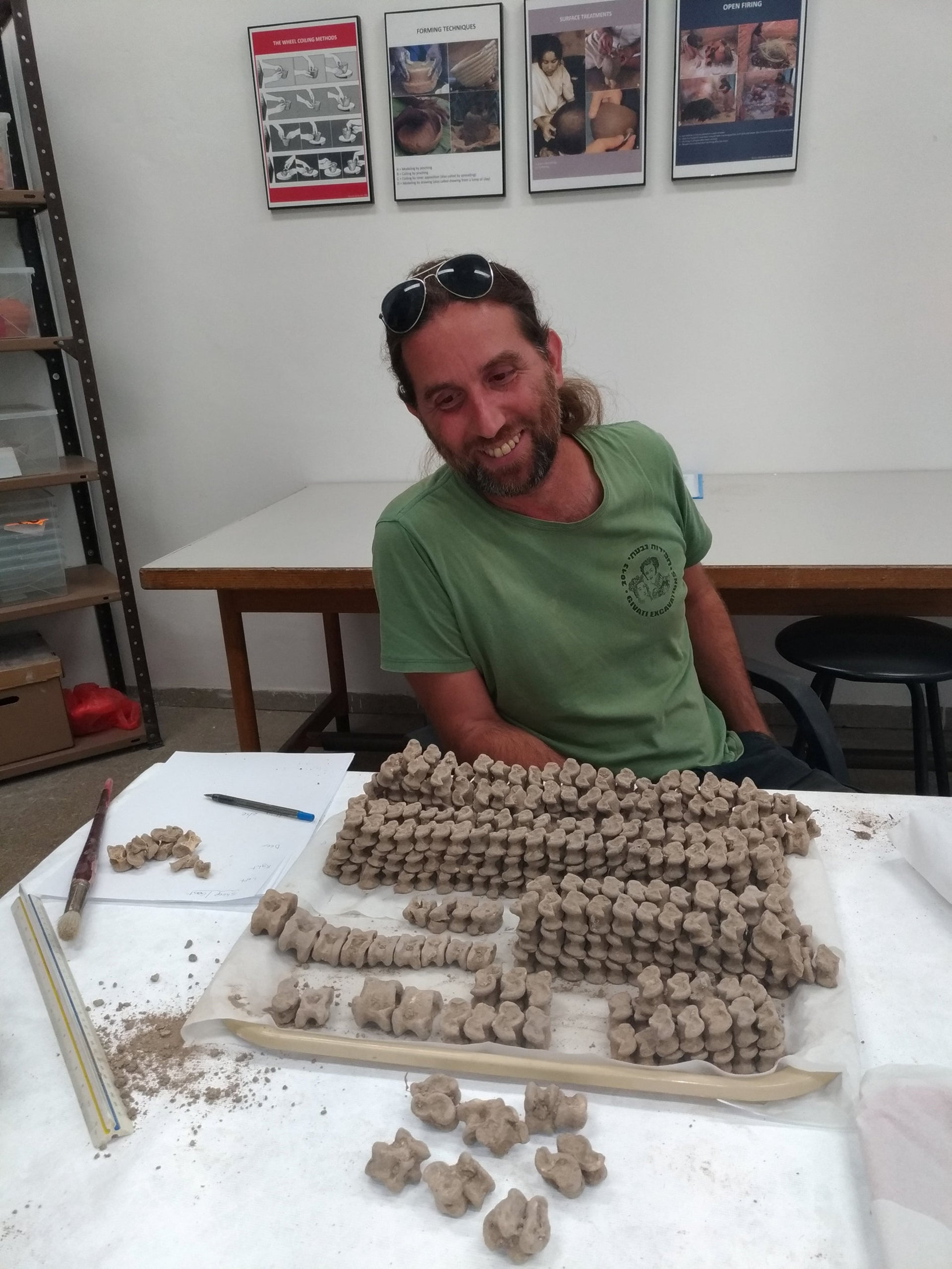 M.A. student Ariel Shatil examining the astragali bones at the Institute of Archaeology, the Hebrew University of Jerusalem