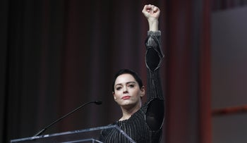 Rose McGowan speaking at the inaugural Women's Convention in Detroit, October 2017. The actor alleged that film producer Harvey Weinstein raped her.