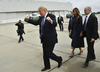 US President Donald Trump gestures as he arrives in Johnstown, Penn. with First Lady Melania Trump, on September 11, 2018 en route to Shanksville, Penn.