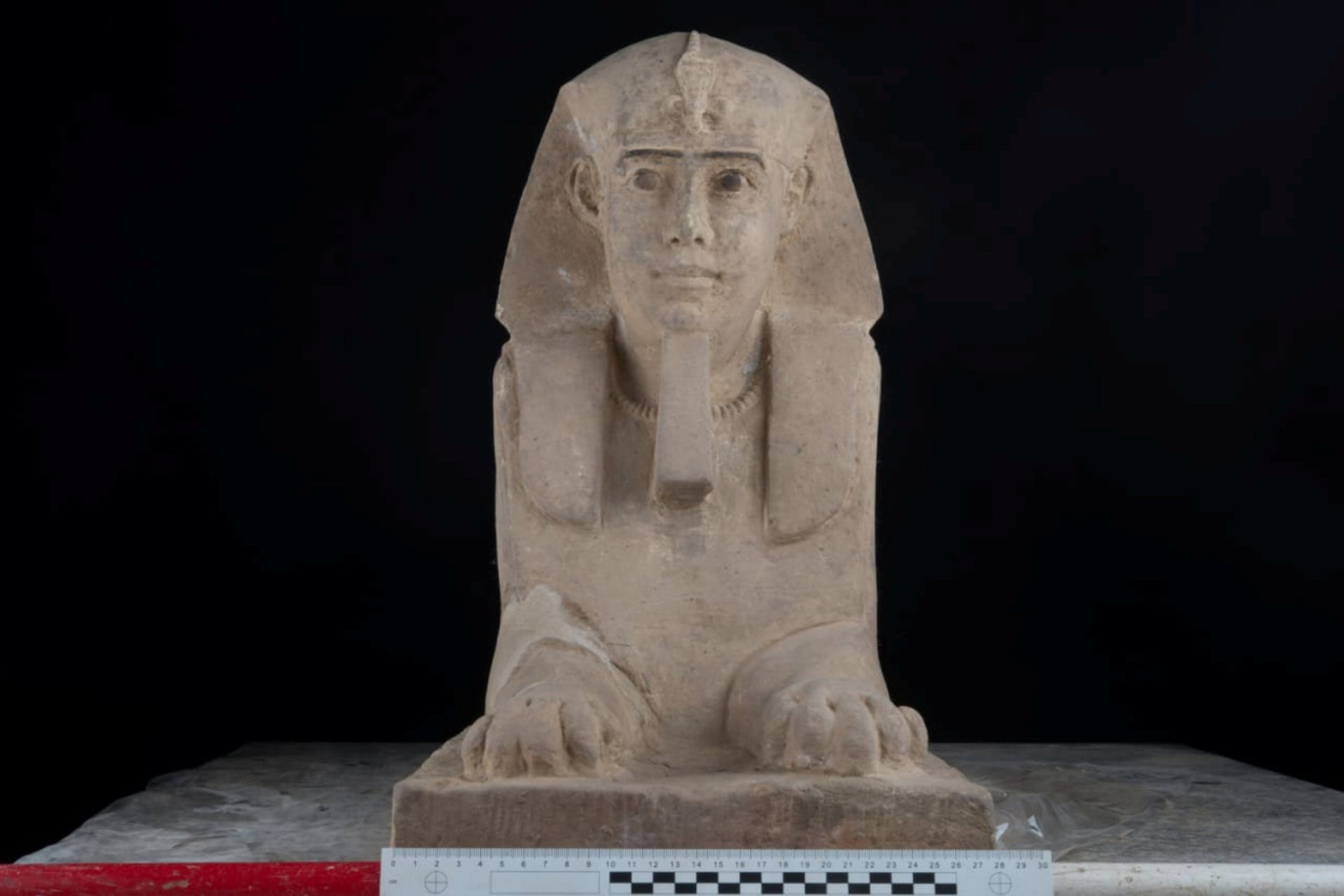 The sandstone statue of Sphinx that was discovered in Kom Ombo Temple in Aswan in upper Egypt
