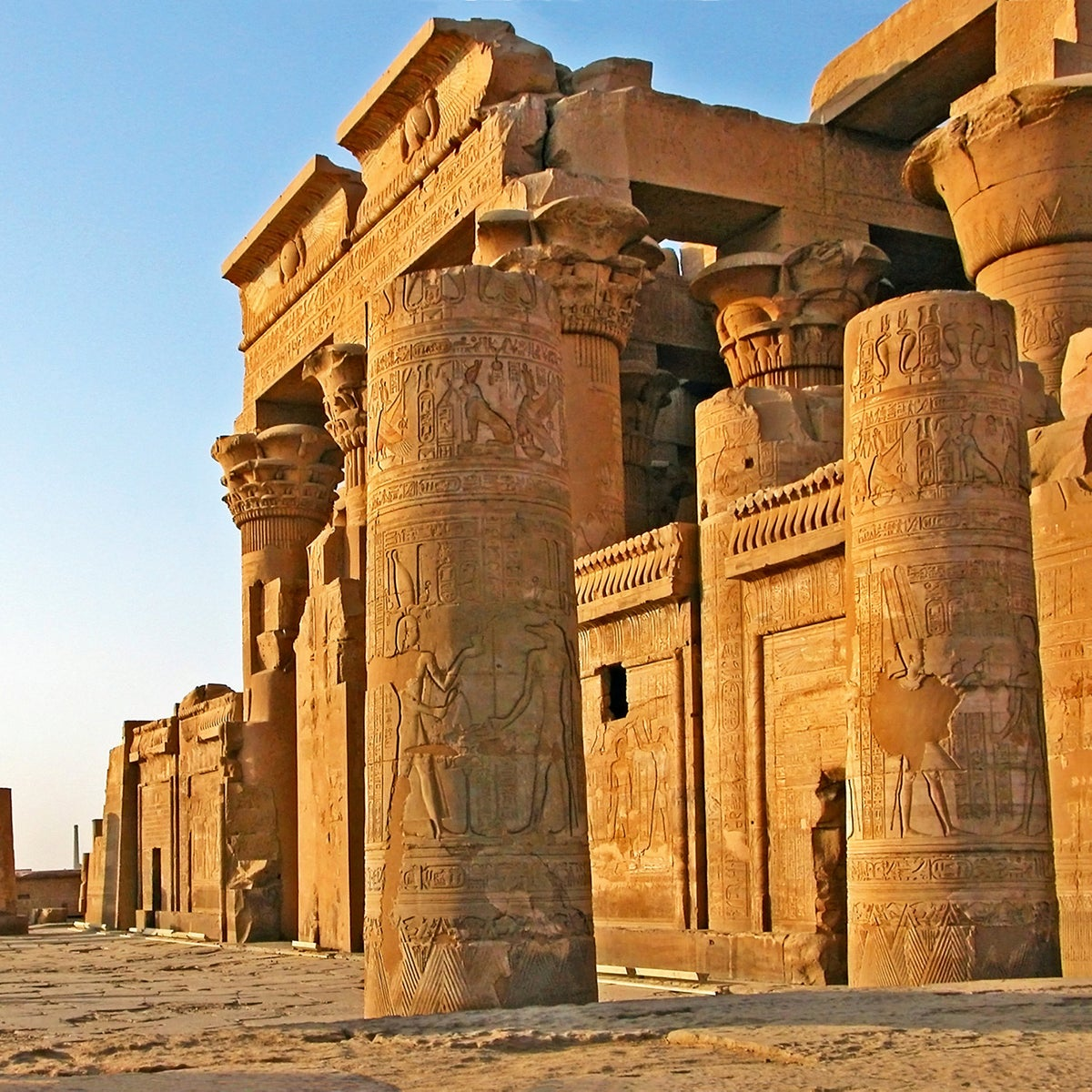 The Temple of Kom Ombo, upper Egypt, a double temple to the crocodile creator of the world, Sobek, and fertility goddess Hathor with Khonsu the moon god