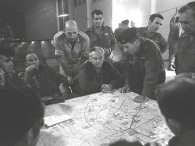 Israeli army's General Staff holding a meeting during the 1973 Yom Kippur war.