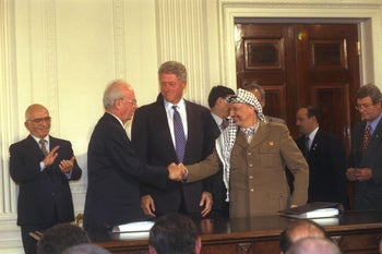 The signing of the Oslo Accords, 1993.