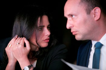Justice Minister Ayelet Shaked and Education Minister Naftali Bennett, Tel Aviv, Israel, May 6, 2018