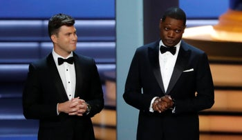 Hosts Colin Jost and Michael Che in the 70 Primetime Emmy Awards show, Los Angeles, September 17, 2018