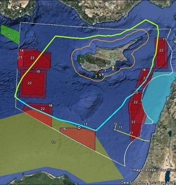 In red: Areas closed off by Russia for military operations and drills.
