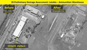Satellite image shows damage caused by alleged Israeli missile strike on targets near Syria's Latakia.
