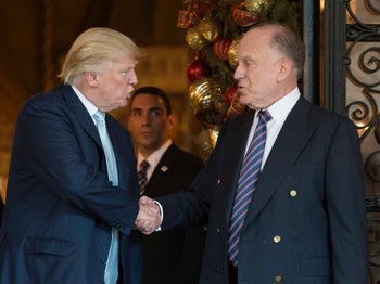 Donald Trump shaking hands with World Jewish Congress President Ronald Lauder after meeting at Mar-a-Lago in Florida, December 2016.