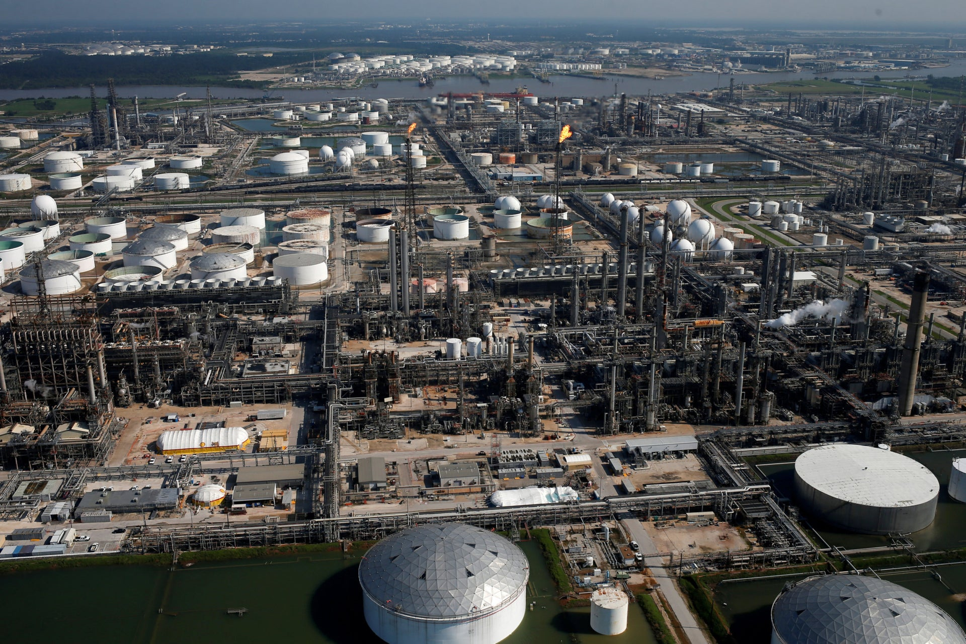 A Shell plant in Texas. A U.S. president who intends to spearhead change will have to find alternative ways to take big energy corporations' vast profits and invest them in alternative energy.