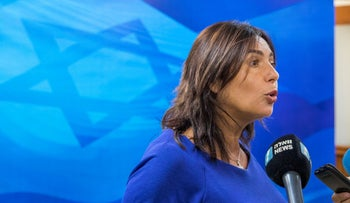 Miri Regev, Israel's Minister of Culture and Sport, addresses journalists before the weekly cabinet meeting at the prime minister's office in Jerusalem, August 12, 2018.
