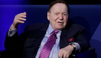 Billionaire Sheldon Adelson, chairman and chief executive officer of Las Vegas Sands Corp., speaks during a keynote presentation session in Tokyo, Japan, February 21, 2017.