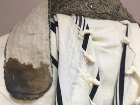 A bloody prayer shawl from the 1940 Yom Kippur pogrom at the ghetto of Lodz, Poland.