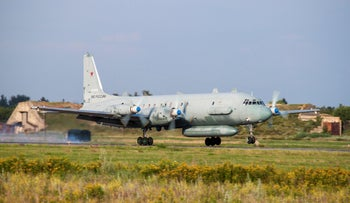 The Russian Il-20 electronic intelligence plane of the Russian air force with the registration number RF 93610, which was downed over Syria.