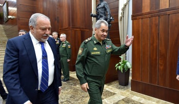 Defense Minister Avigdor Lieberman and Russian Defense Minister Sergei Kuzhugetovich Shoigu, May 2018.