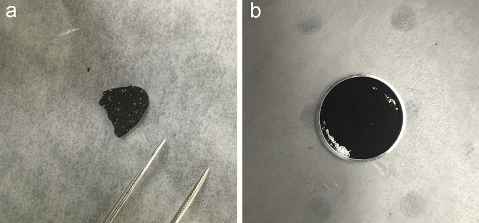 The new study compared mid-infrared spectra from a chip from the Tagish Lake meteoroid whole (right) and ground-up (left) to spectra collected from Phobos by the Mars Global Explorer spacecraft in 1998
