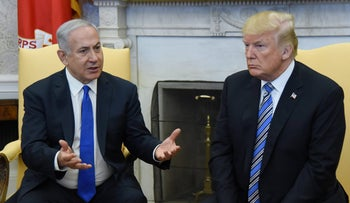 Prime Minister Benjamin Netanyahu and U.S. President Donald Trump at their White House summit in March 2018.
